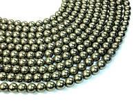Пирит, Натуральный камень, На нитях, бусины 8 мм, Шар, кол-во: 47-48 шт/нить