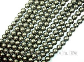 8 мм Пирит, CN230, Натуральный камень, Форма: Шар, Отверстие: 1мм, кол-во: 47-48 шт/нить, фото 2