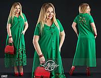 Платье-рубашка с перфорацией зеленое