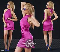 Шелковое платье мини малиновое