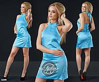 Шелковое платье мини голубое