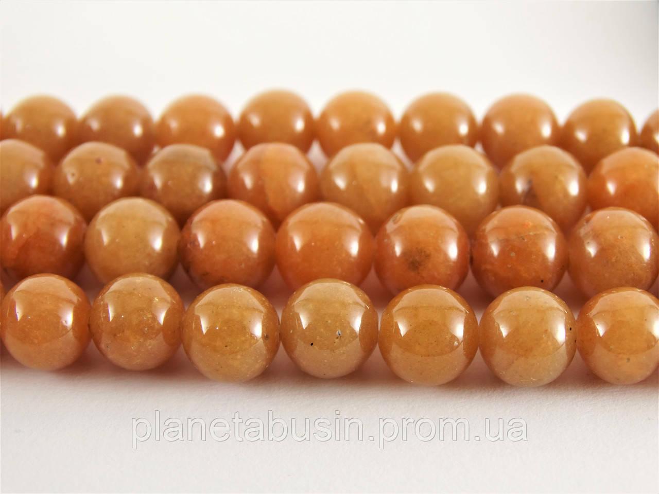 8 мм Красный Авантюрин, CN231, Натуральный камень, Форма: Шар, Отверстие: 1мм, кол-во: 47-48 шт/нить