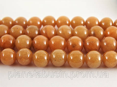 8 мм Красный Авантюрин, CN231, Натуральный камень, Форма: Шар, Отверстие: 1мм, кол-во: 47-48 шт/нить, фото 2