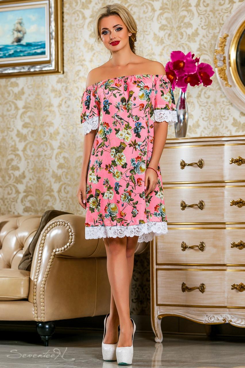 Красивое  летнее  платье 2251розовое с принтом