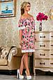 Красивое  летнее  платье 2251розовое с принтом, фото 2