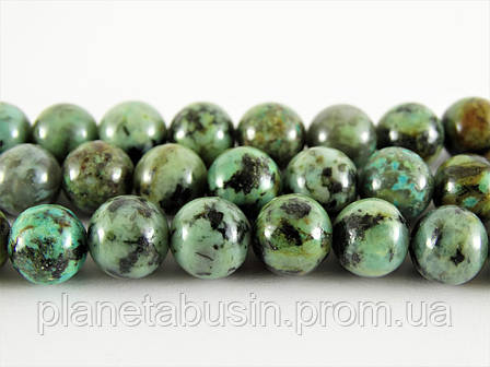 10 мм Африканская Бирюза, Натуральный камень, На нитях, бусины 10 мм, Шар, кол-во: 38-39 шт/нить, фото 2