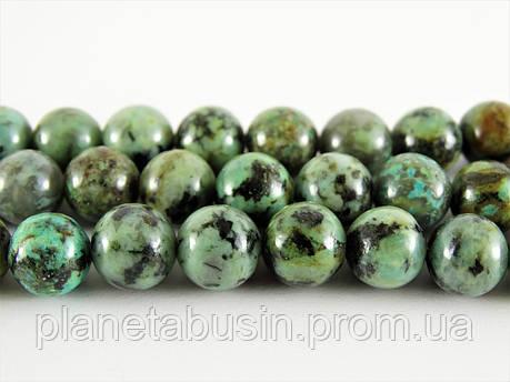 8 мм Африканская Бирюза, CN290, Натуральный камень, Форма: Шар, Отверстие: 1мм, кол-во: 47-48 шт/нить, фото 2