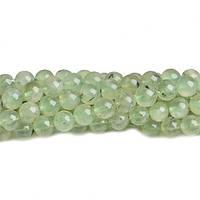 Пренит, Натуральный камень, На нитях, бусины 8 мм, Шар, кол-во: 47-48 шт/нить