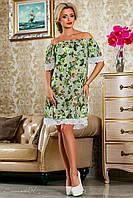 Красивое  летнее  платье 2250 серо-зеленое с принтом