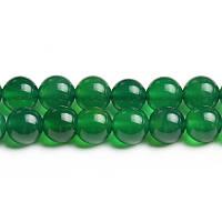 Зелёный Агат, Натуральный камень, На нитях, бусины 8 мм, Шар, кол-во: 47-48 шт/нить