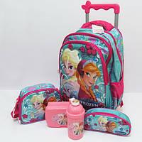 Детский чемодан-рюкзак + сумка + пенал + ланчбокс + бутылка Frozen