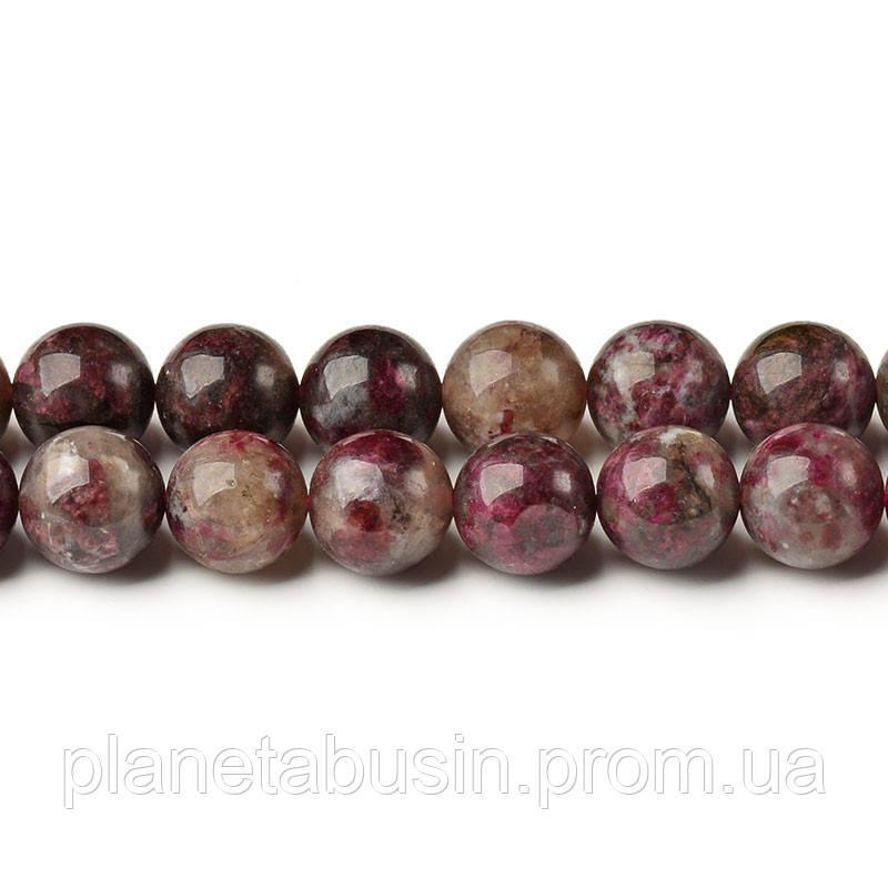 8 мм Красный Турмалин, CN236, Натуральный камень, Форма: Шар, Отверстие: 1мм, кол-во: 47-48 шт/нить