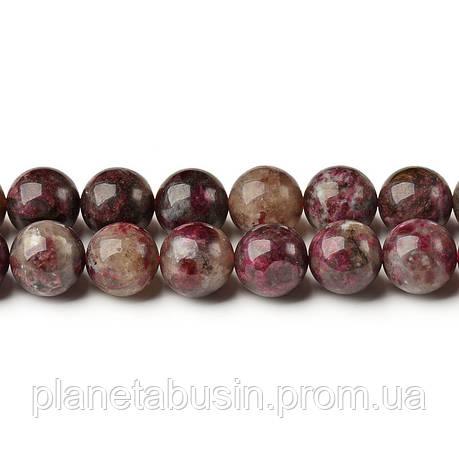 8 мм Красный Турмалин, CN236, Натуральный камень, Форма: Шар, Отверстие: 1мм, кол-во: 47-48 шт/нить, фото 2