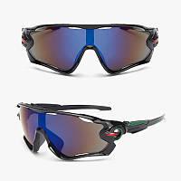 Очки спортивные черно-зеленого цвета с вентиляцией Han Meng