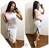 Платье футболка из вискозы с мики-маусом