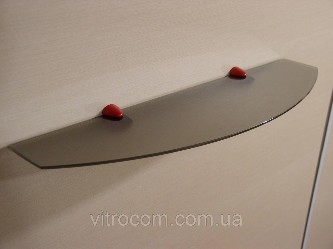 Полка стеклянная фигурная 4 мм бронзовая матовая 55 х 15 см