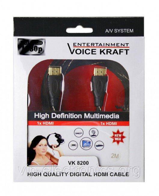 HDMI (шт.- шт.) діам.-6мм з фільтр. ОПК 2м. в коробці VK 8200