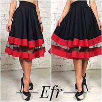 Женская стильная юбка цвета: черный, красный, бордовый, бутылка ФР152
