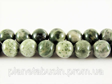 8 мм Яшма Зелёная Зебра, CN238, Натуральный камень, Форма: Шар, Отверстие: 1мм, кол-во: 47-48 шт/нить, фото 2