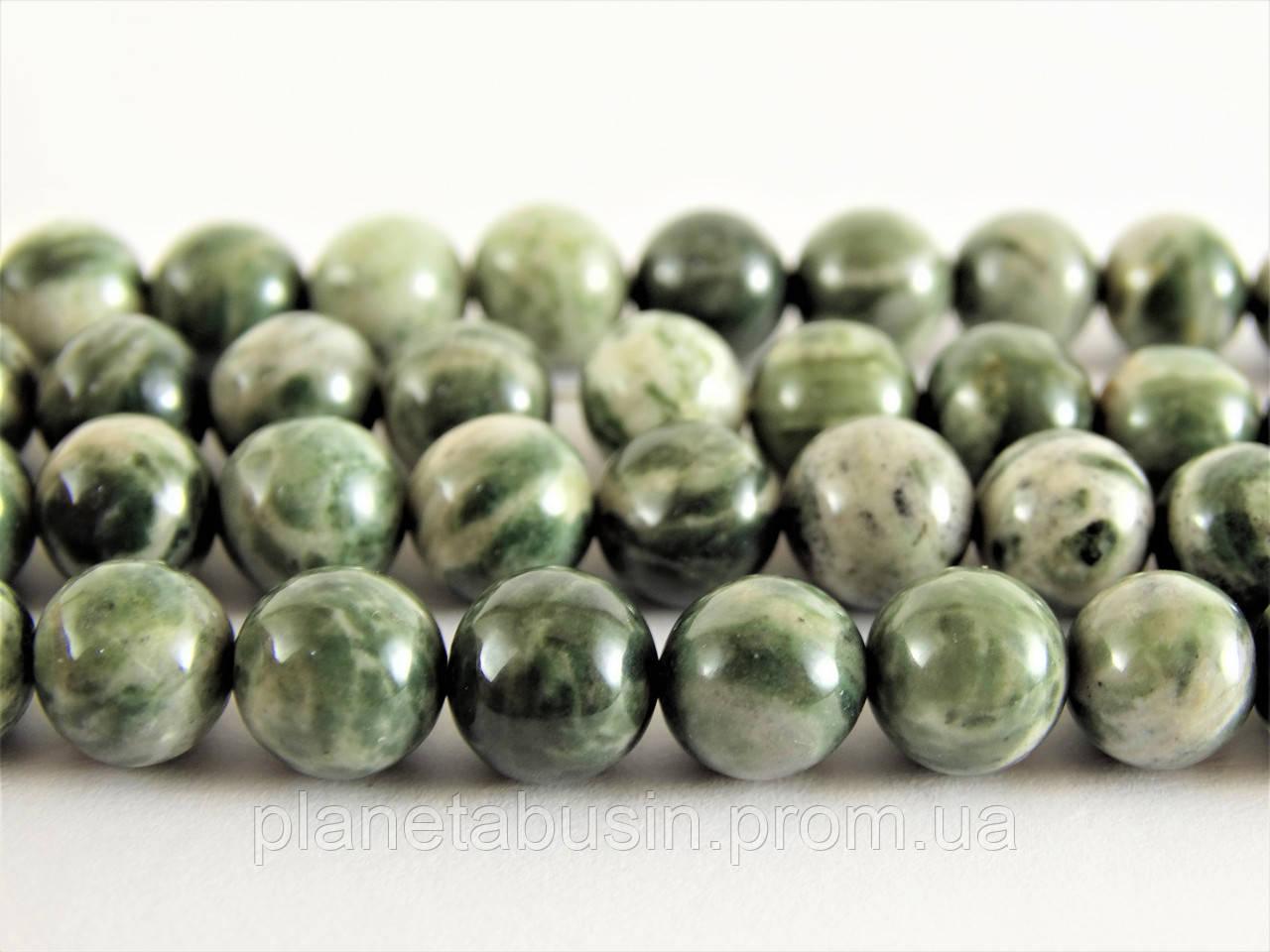 8 мм Яшма Зелёная Зебра, CN238, Натуральный камень, Форма: Шар, Отверстие: 1мм, кол-во: 47-48 шт/нить