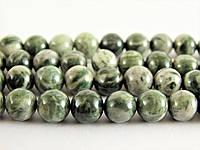Яшма зелёная зебра, Натуральный камень, бусины 8 мм, Шар, Отверстие 1 мм, количество: 47-48 шт/нить