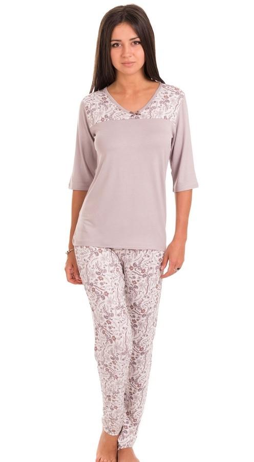 Домашний комплект женский длинная футболка и брюки пижама вискоза ... 9958d14fd21e2