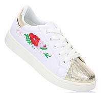 Белые женские кроссовки с цветочной вышивкой и золотистым оформлением Lavanda