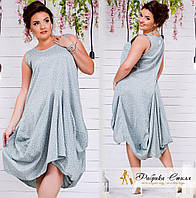 Платье из коттона с асимметричной расклешенной юбкой Велигама
