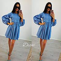 """Платье """"Лола"""" с объемными рукавами.  Ткань -  перфорированный джинс. Размер 42-46. (21233)"""