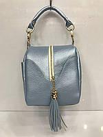 Сумка маленькая модная женская клатч с кисточкой перламутровый голубой Bars 2137, фото 1