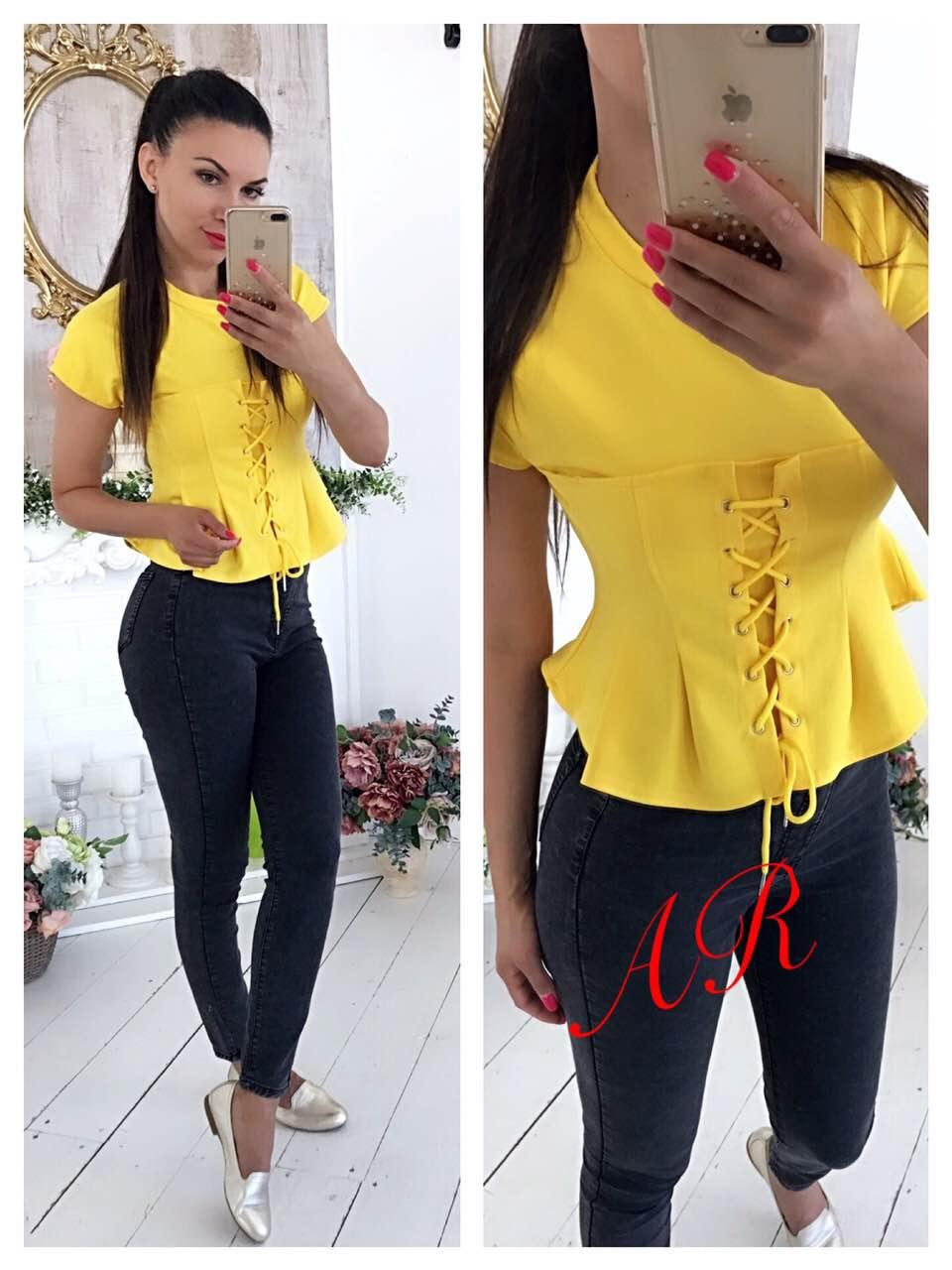 Блуза (Фабричный Китай) ткань трикотаж размер универсальный 42/46. РАЗНЫЕ цвета. (15165)