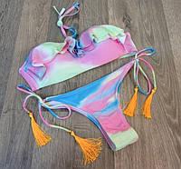 Купальник раздельный бикини разноцветный с оборками плавки с кисточками S