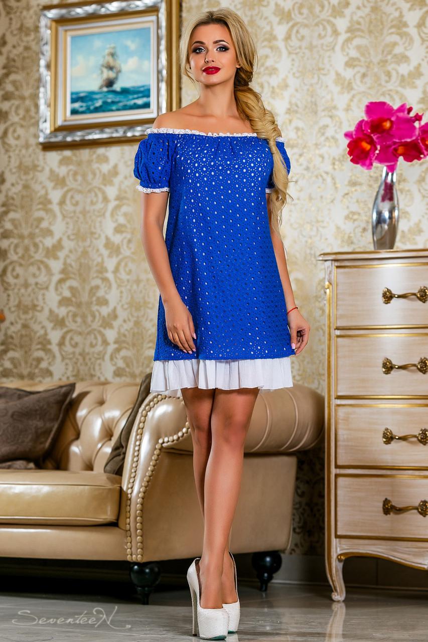 Красивое  летнее  платье 2247 электрик