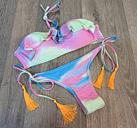 Купальник раздельный бикини разноцветный с оборками М