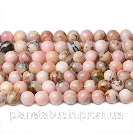 8 мм Розовый Опал, CN243, Натуральный камень, Форма: Шар, Отверстие: 1мм, кол-во: 47-48 шт/нить, фото 2