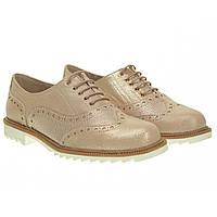 Туфли женские Presso (кожаные, с оригинальным розовым блеском, на шнурках, удобные)