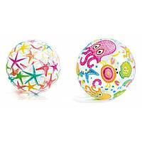 Мяч надувной пляжный 59040, рисунок в ассортименте, 3+ лет, 51 см