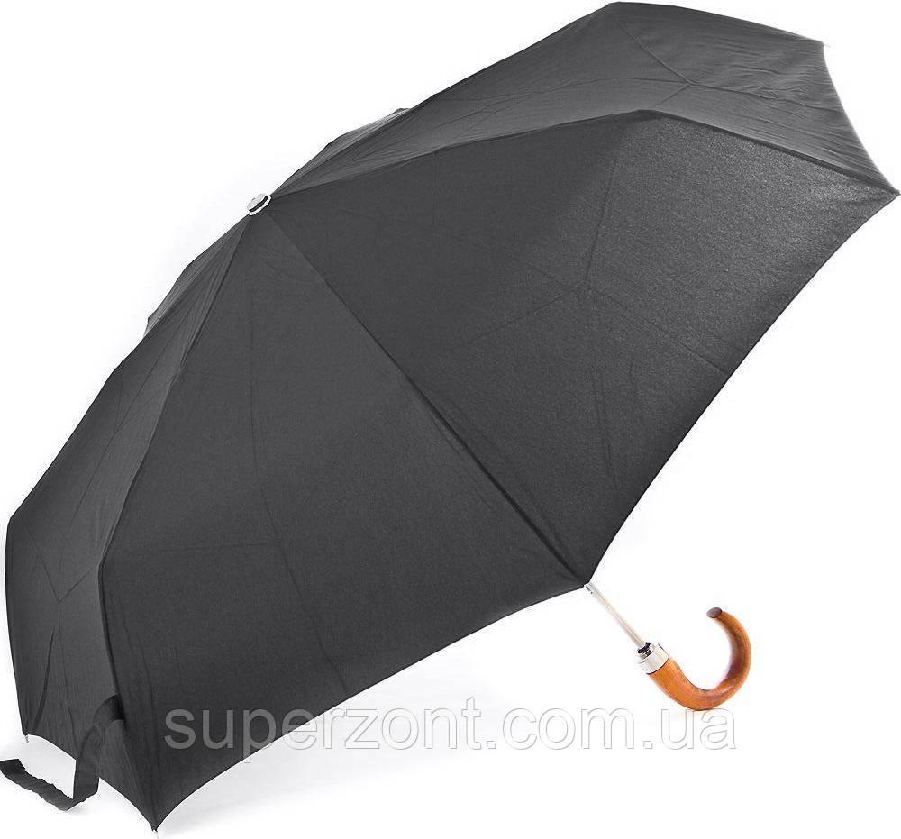 Зонт мужской полныйавтомат с деревянной ручкой крюком FARE (ФАРЕ) FARE5675-black Антиветер
