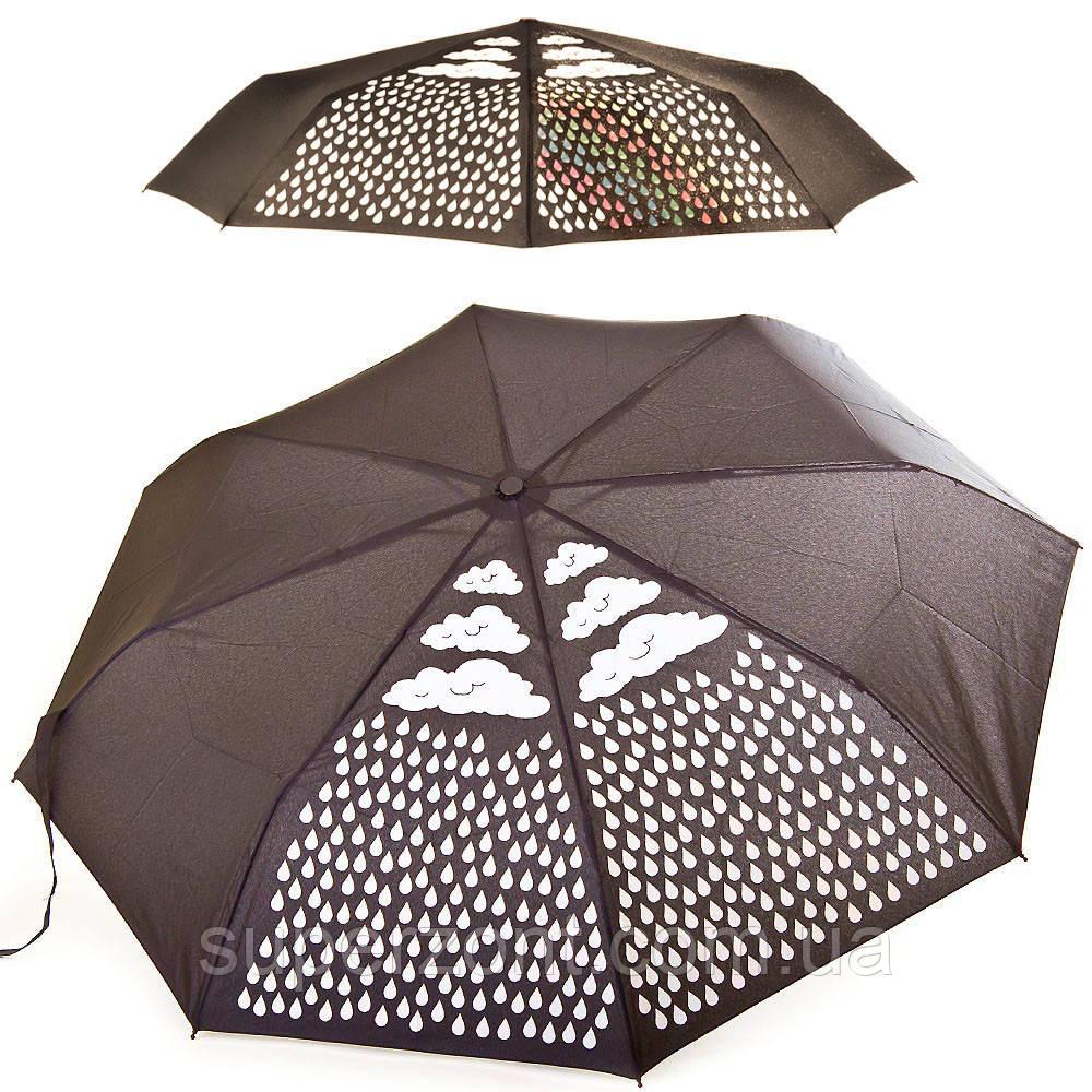 Женский механический компактный облегченный зонт FARE (ФАРЕ) с эффектом хамелеона FARE5042C-black