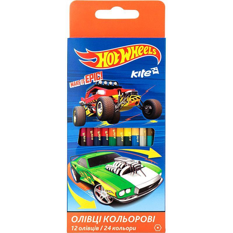 Карандаши цветные двусторонние Kite Hot Wheels 12 шт. / 24 цвета HW17-054
