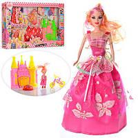 Кукла с нарядом D23-2  28см,платье10шт,дочка10см,замок16-17-5см,велосипед