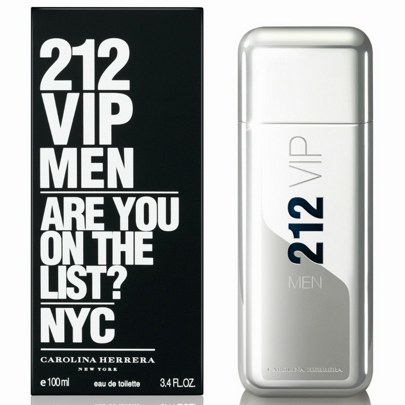 Мужская парфюмированная вода Carolina Herrera 212 VIP Men (черная коробка с белыми буквами) - 100 мл
