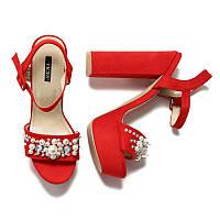 Босоножки женские на каблуке красные с жемчугом 3102-19 RED