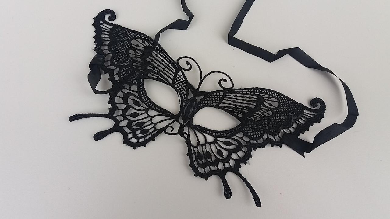"""Ажурная маска """" Бабочка"""" черного цвета"""