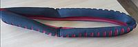Чехол руля эластичный черно-красный 38см