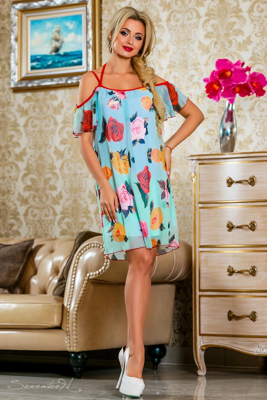 Красивое  летнее молодежное  платье 2245 бирюза