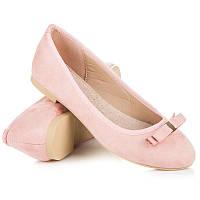 Розовые женские балетки с аккуратным бантиком от Vices