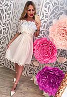 Женское летнее модное платье-сарафан с воланом из кружева (4 цвета)