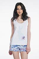 Пижама для женщин, комплект для сна, шорты и майка, 95% хлопок, ELLEN,  LNP 076/001