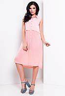 Женское летнее платье-рубашка из легкого шифона в расцветках